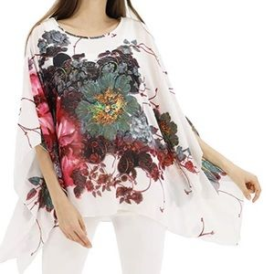 Beautiful woman floral print tunic top